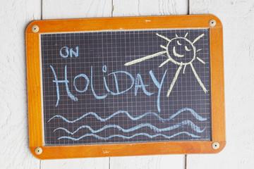Kreidetafel, Urlaub, Wellen, gemalt, Holzhintergrund