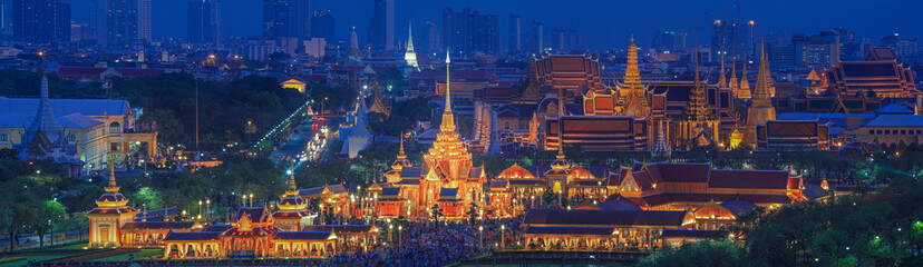Royal funeral pyre of princess at twilight in Bangkok, Thailand