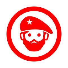 Icono redondo revolucionario rojo