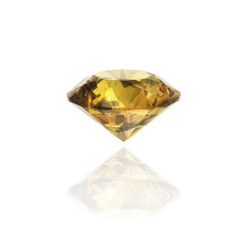 Yellow Diamond on white background