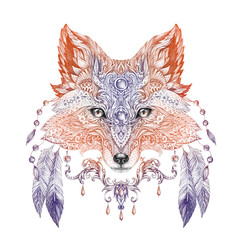 Tattoo, portrait of a wild fox