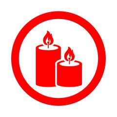 Icono redondo velas de navidad rojo