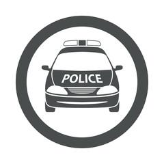 Icono redondo coche policia gris