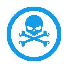 Icono redondo craneo con tibias azul