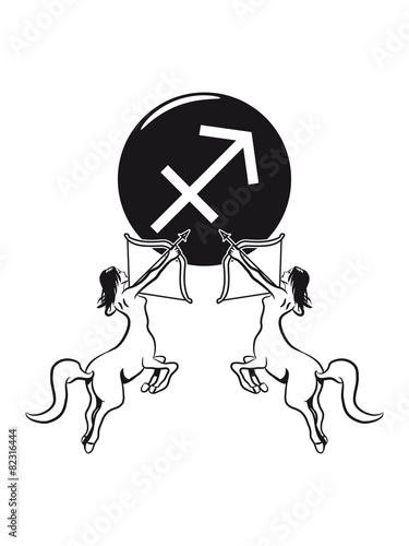 Horoscope Sagittarius Arrow Bow Centaur Woman Symbol Stock Photo