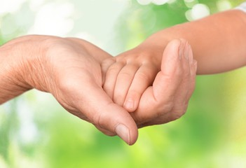 Human Hand. Child & Family Parent Holding Hands, Father Caring