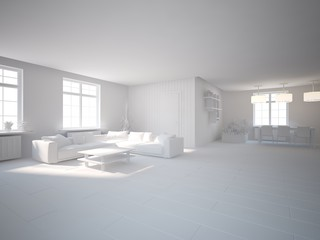 white 3d interior design
