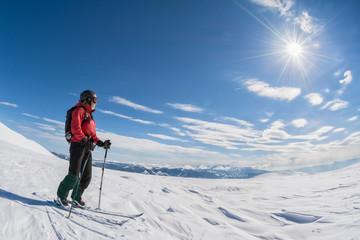 ski touring on sunny day
