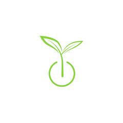 Sprout mockup eco logo, green leaf seedling, growing plant
