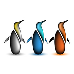 Penguin collection animal icon, set of wild bird