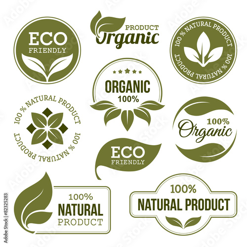 """""""Green Organic Products Labels"""" Stock Image And Royalty"""