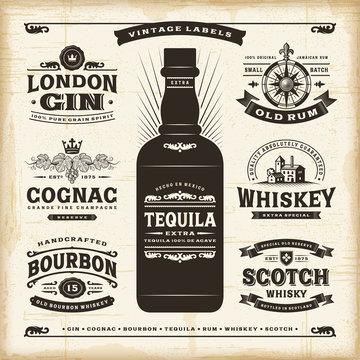 Vintage alcohol labels collection