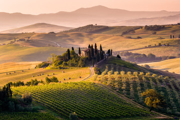 Foto op Canvas Toscane Tuscany, landscape and farmhouse in the hills of Val d'Orcia