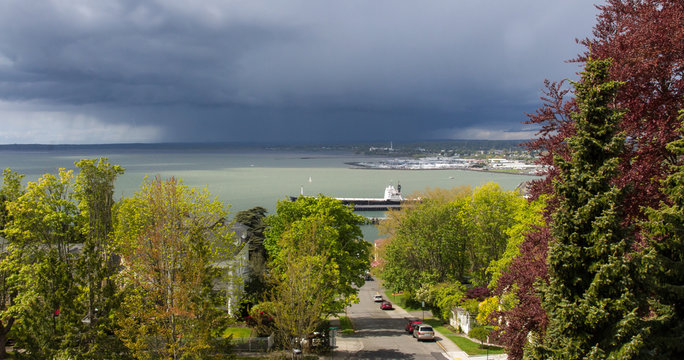 Sunny Neighborhood Overlooking a Storm Blowing in Over the Bay