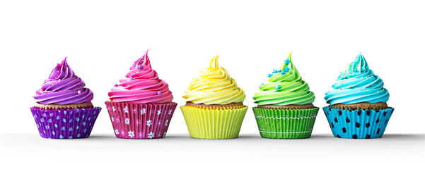 Wall Mural - Colorful cupcakes on white
