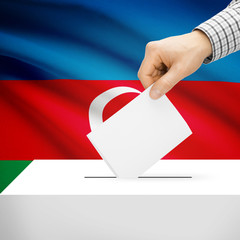 Ballot box with national flag on background - Azerbaijan