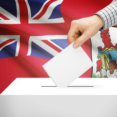 Ballot box with national flag on background - Bermuda