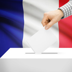 Ballot box with national flag on background - France