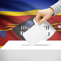 Ballot box with national flag on background - Swaziland