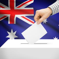 Ballot box with national flag on background - Australia