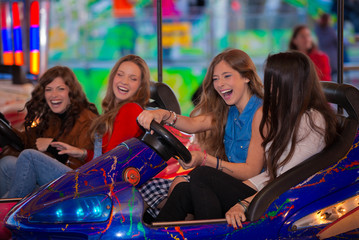 carnival bumper ride group of teens