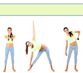 Beautiful young woman doing exercises in collage with space for text