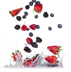 Fresh berries with water splash