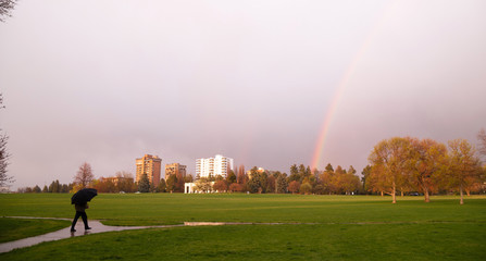 Rainbow Appears Over Park During Thunderstorm Pedestrian Umbrell
