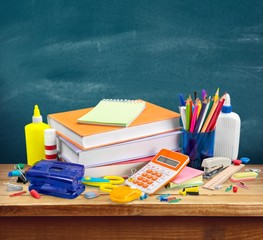 School. School and office supplies on white background. Back to