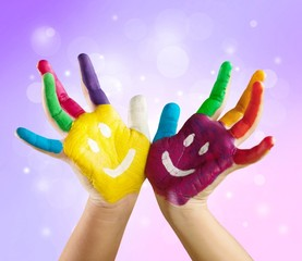 School. Hands Painted Children on white background