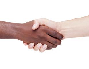 Handshake between caucasian and african man, racism concept