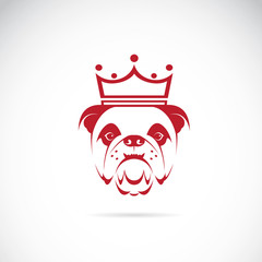 Vector image of bulldog head wearing a crown on white background