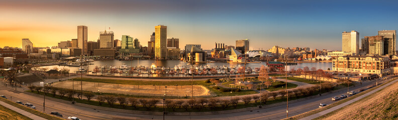 Baltimore skyline panorama at sunset