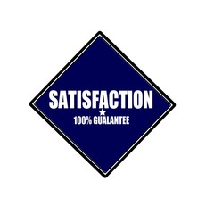 satisfaction white stamp text on blue black background
