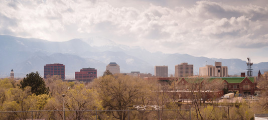 Colorado Springs Downtown City Skyline Dramatic Clouds Storm