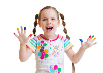 happy child girl with painted hands