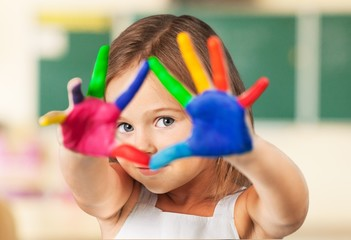School. Painted colorful hands