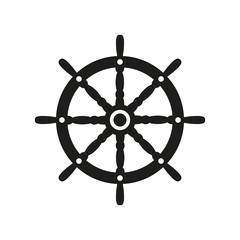 The ship steering wheel icon. Sailing symbol. Flat