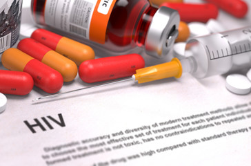 Obraz HIV Diagnosis. Medical Concept. Composition of Medicaments. - fototapety do salonu