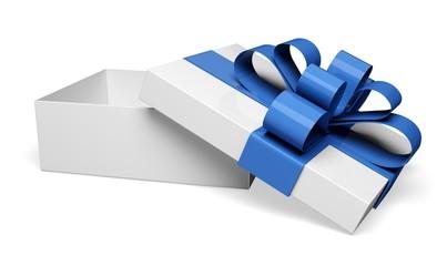Gift. 3D. White gift box. 3D image.