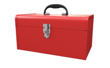 Toolbox. 3D. Open - closed red toolbox