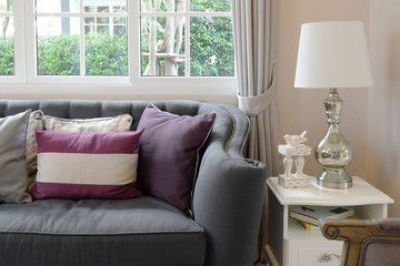 luxury living room design with classic sofa, armchair and decora
