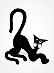 Black cat on light grey background