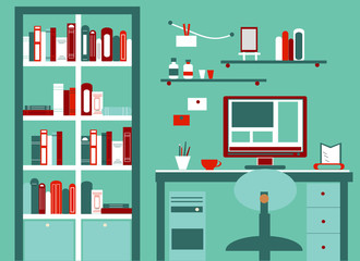 Home workplace flat vector design. Cabinet with library for