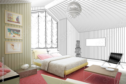 dachboden ausbau zeichnung stockfotos und lizenzfreie bilder auf bild 82363810. Black Bedroom Furniture Sets. Home Design Ideas