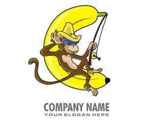 monkey banana image vector