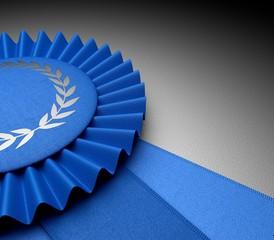 Award. 3D. Blue Ribbon