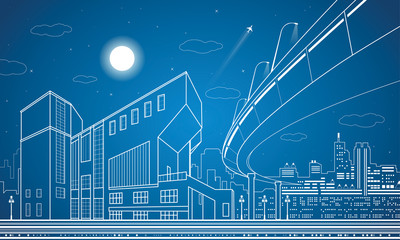 Nigh town, architecture, lines design, city infrastructure