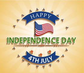 4th of july American independence day badge. Vector illustration