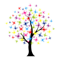 Tree with butterflies summer for your design